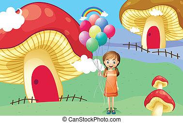 A girl with balloons near the mushroom houses