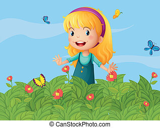 A girl with butterflies at the garden