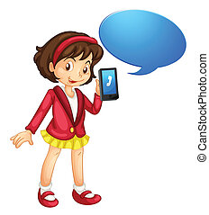 a girl with cell phone - illustration of a girl with cell...
