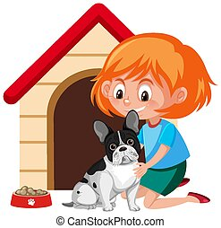 A girl with cute dog and dog house on white background