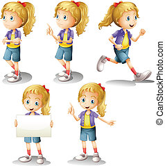 A girl with different positions - Illustration of a girl...