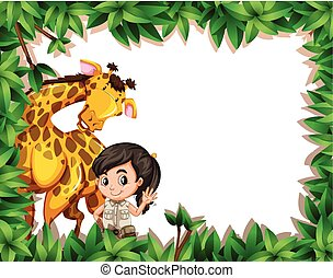 A girl with giraffe on nature frame