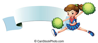 A girl with green pompoms near an empty signage - ...