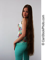A girl with long hair