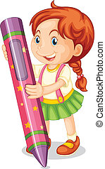 a girl with pencil - illustration of a girl with pencil on a...