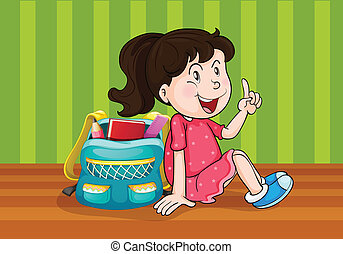 a girl with schoolbag