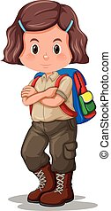 A girl with scout uniform