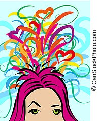 A girl with thoughts about something, chaotic colorful ideas. Vector