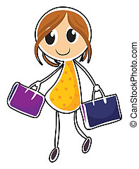 A girl with two bags
