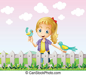 A girl with two birds near the wooden fence