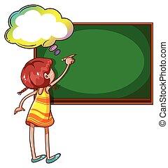 A girl writing at the blackboard