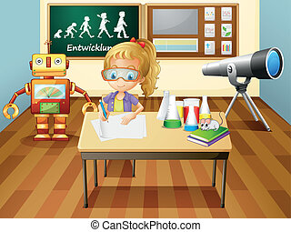A girl writing inside a science laboratory room