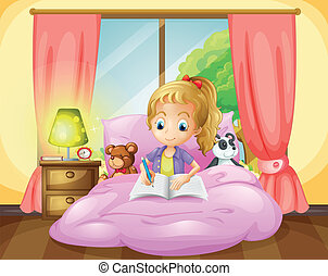 A girl writing inside her room - Illustration of a girl...