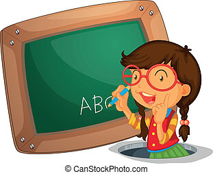 A girl writing on the board