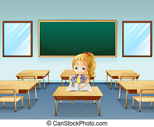 A girl writing with an empty board at the back -...