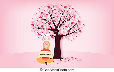 A girls is sitting near the tree and waiting for her husband