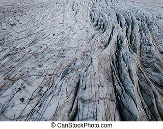 A glacier in Iceland photographed close up from a drone