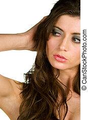 Beautiful woman glancing sideways