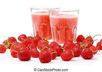 a, glas, von, erdbeere smoothie, umgeben, per, frisch, beeren
