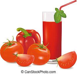 a, glas, von, tomate- saft