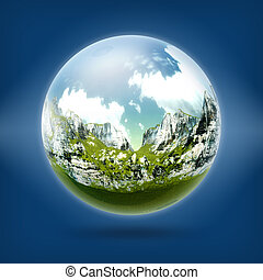 A glass ball with mountain