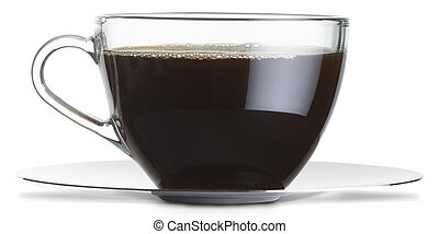 a glass cup of black coffee isolated on a white background with clipping path