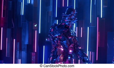 A glass man reflecting light dances against a neon wall with purple and blue.