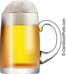A glass mug with beer and foam isolated on white background.