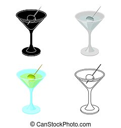 A glass of alcohol with olive.Olives single icon in cartoon style vector symbol stock illustration web.