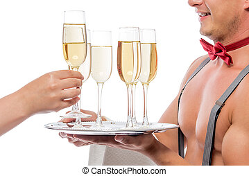 a glass of champagne for woman in Christmas