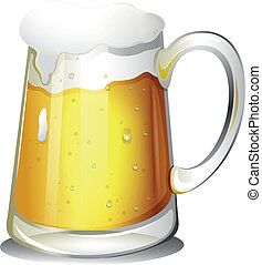 Illustration of a glass of cold alcoholic drink on a white background
