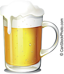 A glass of cold beer - Illustration of a glass of cold beer...