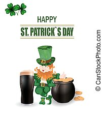A glass of dark beer. Leprechaun in green hat. Two-leaf clover and horseshoe iron. Pot with coins. Happy St. Patrick s inscription. Against the background of the cell. illustration