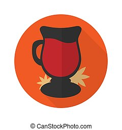 A glass of drink Mulled wine. Template. Vector illustration, flat style.