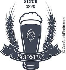 A glass of fresh Beer, hops and malt. Vintage emblem.
