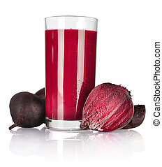 A glass of fresh beet vegetable juice isolated on white background