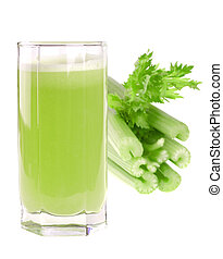 A glass of fresh celery juice