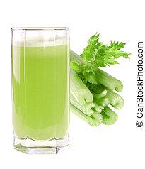 A glass of fresh celery juice