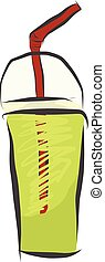A glass of fresh green juice vector or color illustration