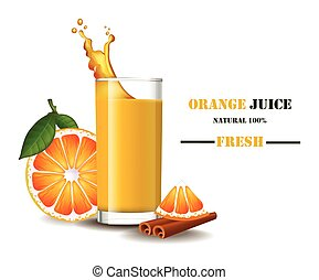 A glass of fresh orange juice with splash Vector realistic illustrations mock up