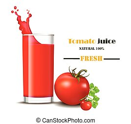 A glass of fresh tomato juice with splash Vector realistic illustrations