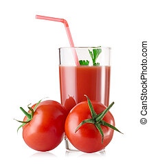 A glass of fresh tomato juice with tomatoes