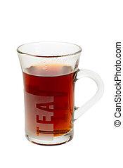 a glass of hot tea