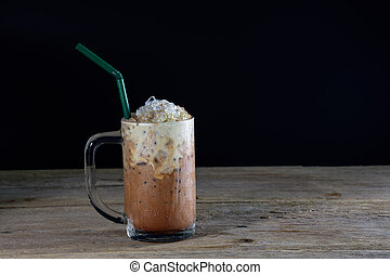 A glass of ice coffee