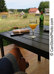 A glass of juice on the table