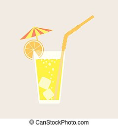 A glass of lemonade, a soda with ice and a cocktail umbrella. Lemon juice. A glass of lemon or orange cocktail with straw. Vector illustration isolated on light background. Element for your design.
