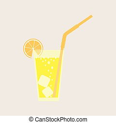 A glass of lemonade, a soda with ice. Lemon juice. A glass of lemon cocktail with a straw. Vector illustration isolated on light background.