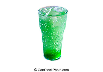 A glass of mojito with lemon and ice  isolated