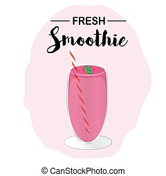 A glass of raspberry smoothie. Vector illustration