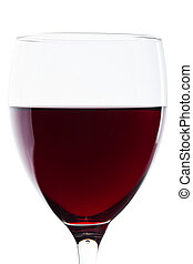 A glass of red wine on white. Detail